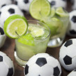 Stock Photo: Two Fresh Lime Caipirinhas BraziliSoccer Balls
