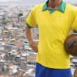 Brazilian Football Player Vintage Soccer Ball Favela — Stock Photo