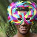 Brazil Carnaval Smiling Brazilian Man in Colorful Mask — Stock Photo