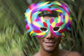 Brazil Carnaval Smiling Brazilian Man in Colorful Mask — Stock Photo