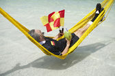 Soccer Football Referee Relaxes on Brazilian Beach — Stock Photo