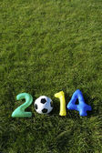 Blue Green Yellow Football 2014 Message Grass Background — Fotografia Stock
