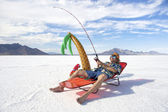 American Fisherman Goes on Cheap Ice Fishing Vacation Holiday — Stock Photo