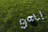 Brazilian Soccer Goal Message Made with Footballs — Stock Photo