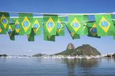 Brazilian Flags Sugarloaf Mountain Rio de Janeiro Brazil — Stock Photo