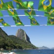 Stockfoto: BraziliFlag Bunting Red Beach Sugarloaf Rio Brazil