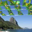 Stock Photo: BraziliFlag Bunting Red Beach Sugarloaf Rio Brazil