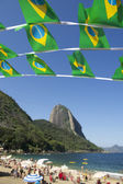 Brazilian Flag Bunting Red Beach Sugarloaf Rio Brazil — Foto de Stock
