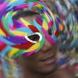 Salvador Carnival Samba Dancing Brazilian Man in Colorful Mask — Stock Photo