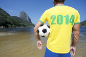 Brazil 2014 Shirt Soccer Football Player Rio Beach — Stok fotoğraf