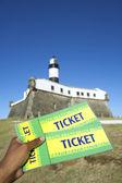 Brazilian Hand Holding Tickets Farol da Barra Salvador Brazil — Stock Photo