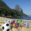 Stock Photo: BraziliSoccer International Flags Beach Football Rio de Janeiro