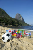 Brazilian Soccer International Flags Beach Football Rio de Janeiro — Stock Photo