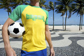 Soccer Player in Brasil Shirt Holding Football Copacabana Rio — Stock Photo