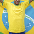 Stock Photo: Proud Patriotic Young Brazilian Football Fan Holding Brazilian Flag