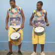 Two Young Brazilian Men Standing Drumming — Stock Photo #39215435