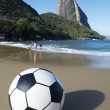 Stock Photo: Football Soccer Ball Red Beach Sugarloaf Rio de Janeiro Brazil