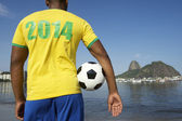 Brazilian Soccer Football Player Wearing 2014 Shirt Rio — Stock Photo