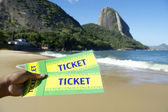 Brazil Tickets at Red Beach Sugarloaf Rio de Janeiro — Stock Photo