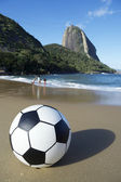 Football Soccer Ball Red Beach Sugarloaf Rio de Janeiro Brazil — Stock Photo