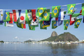 Brazilian International Flags Sugarloaf Mountain Rio de Janeiro Brazil — Stock Photo