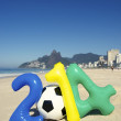 Colorful 2014 Message with Soccer Ball Football Rio Beach Brazil — Stock Photo #39227915