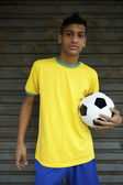 Young Brazilian Football Player Holding Soccer Ball — Stock Photo