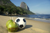 Football Soccer Ball with Fresh Coconut Rio Beach — Stock Photo