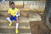 Portrait of Young Brazilian Soccer Football Player — Stock Photo