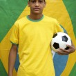 Proud Patriotic Young Brazilian Football Fan Posing with Flag — Stock Photo