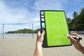 Soccer Football Tactics Board Brazil Beach — Stock Photo