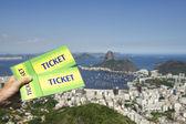 Brazil Tickets Rio de Janeiro Skyline — Stock Photo
