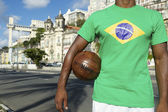 Brazilian Football Player Salvador Elevator with Soccer Ball — Stock Photo