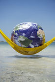 World Relaxing Tropical Beach Hammock — 图库照片
