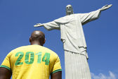 Brazilian Football Soccer Player 2014 Shirt Corcovado Rio de Janeiro — Stock Photo
