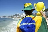 Brazilian Holding Trophy Rio de Janeiro Skyline — Stock Photo