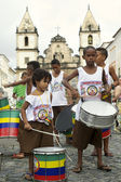 Brazilian Children Drumming Pelourinho Salvador — Stockfoto