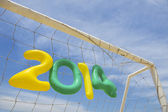 Soccer Football 2014 Message Yellow Green Blue — Stock Photo