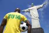 Brazilian Football Soccer Player 2014 Shirt Corcovado Rio de Janeiro — 图库照片