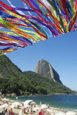 Brazilian Flag Bunting Red Beach Sugarloaf Rio Brazil — ストック写真