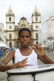 Brazilian Boy Standing Drumming Pelourinho Salvador — Stock Photo