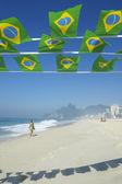 Brazilian Flag Bunting Ipanema Beach Rio Brazil — Photo