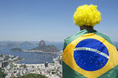 Patriotic Brazil Fan Standing Wrapped in Brazilian Flag Rio — Zdjęcie stockowe
