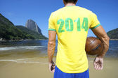 Brazil Soccer Football Player Rio Beach 2014 Shirt — Stock Photo