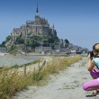 Le Mont-Saint-Michel eyes of a child — Stock Photo