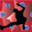 Breakdancer with background - vector — Stockvektor