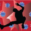 Breakdancer con fondo - vector — Vector de stock