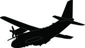 Airplane silhouette - vector — Stock Vector