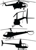 Helicopters collection - vector — Stock Vector