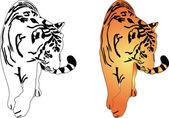 Tiger silhouette - vector — Vector de stock